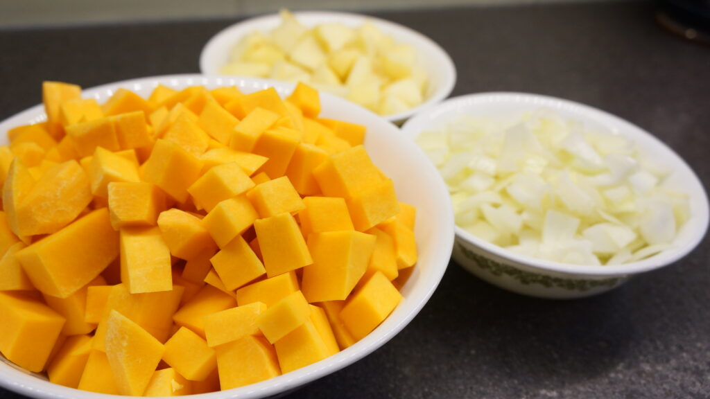 butternut squash soup ingredients apples onions chopped