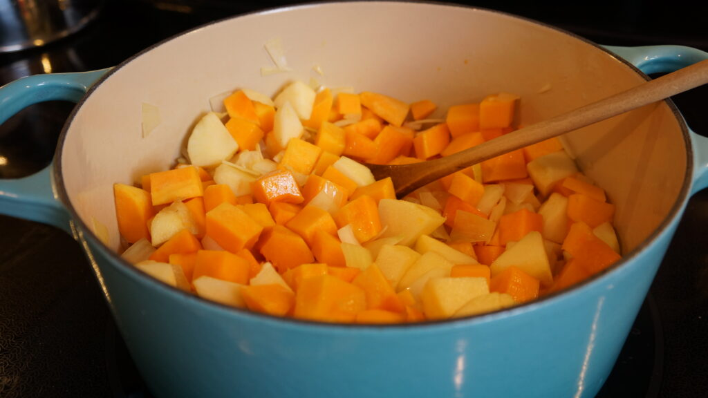 butternut squash soup ingredients sauted